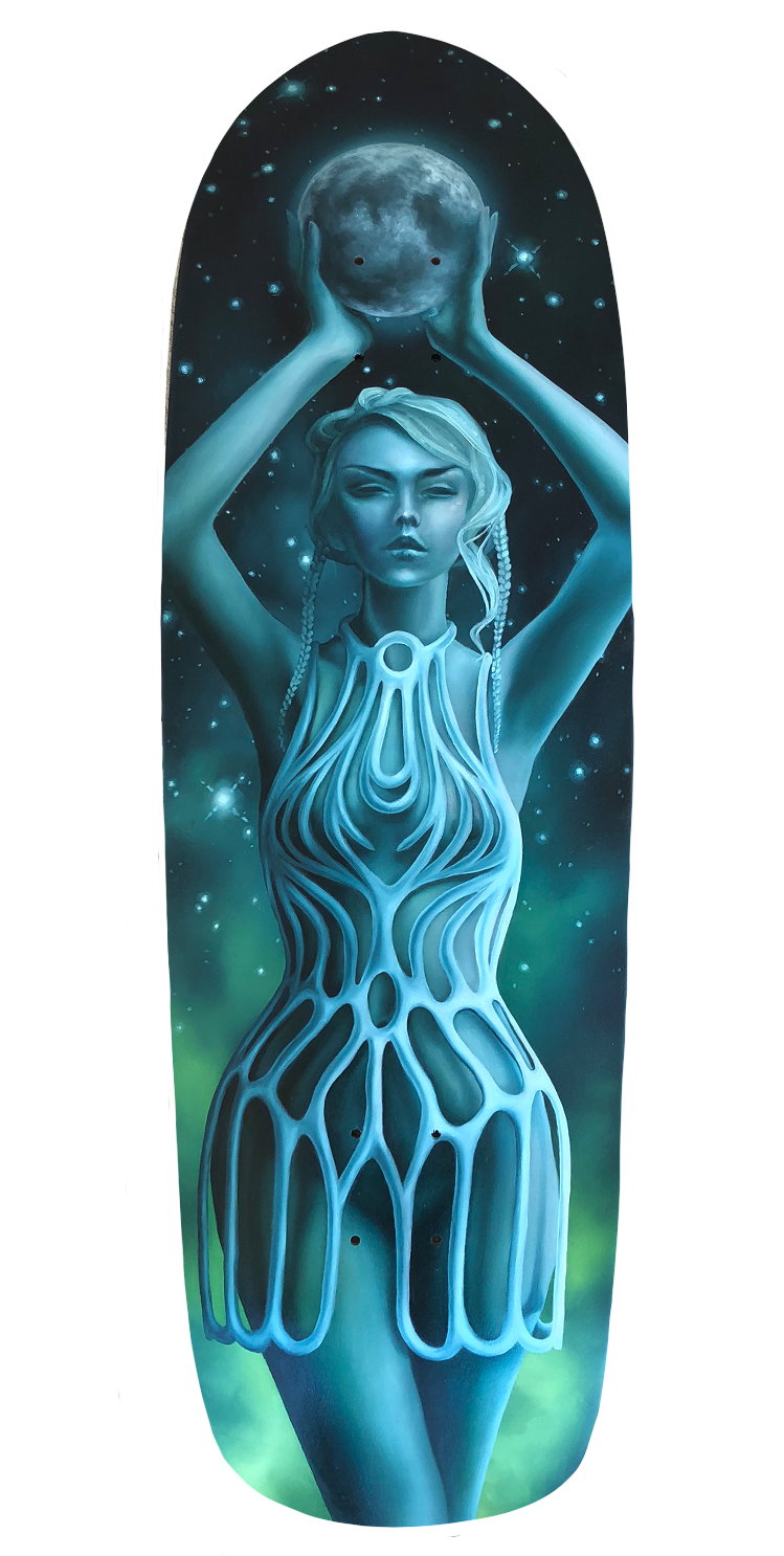 Skateboard Deck, Oil Painting, Diana Ormanzhi